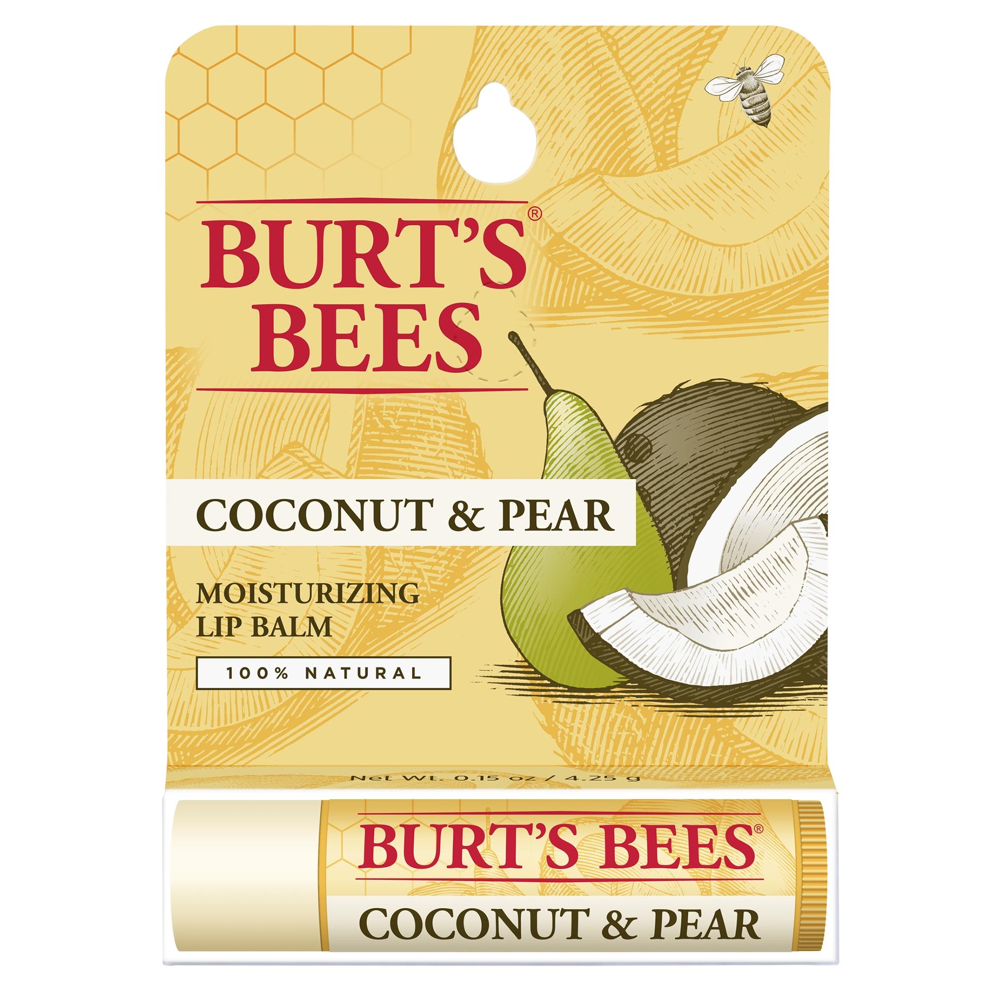 Burt's bees 100% natural moisturizing lip balm, coconut & pear, 1 tube in blister box