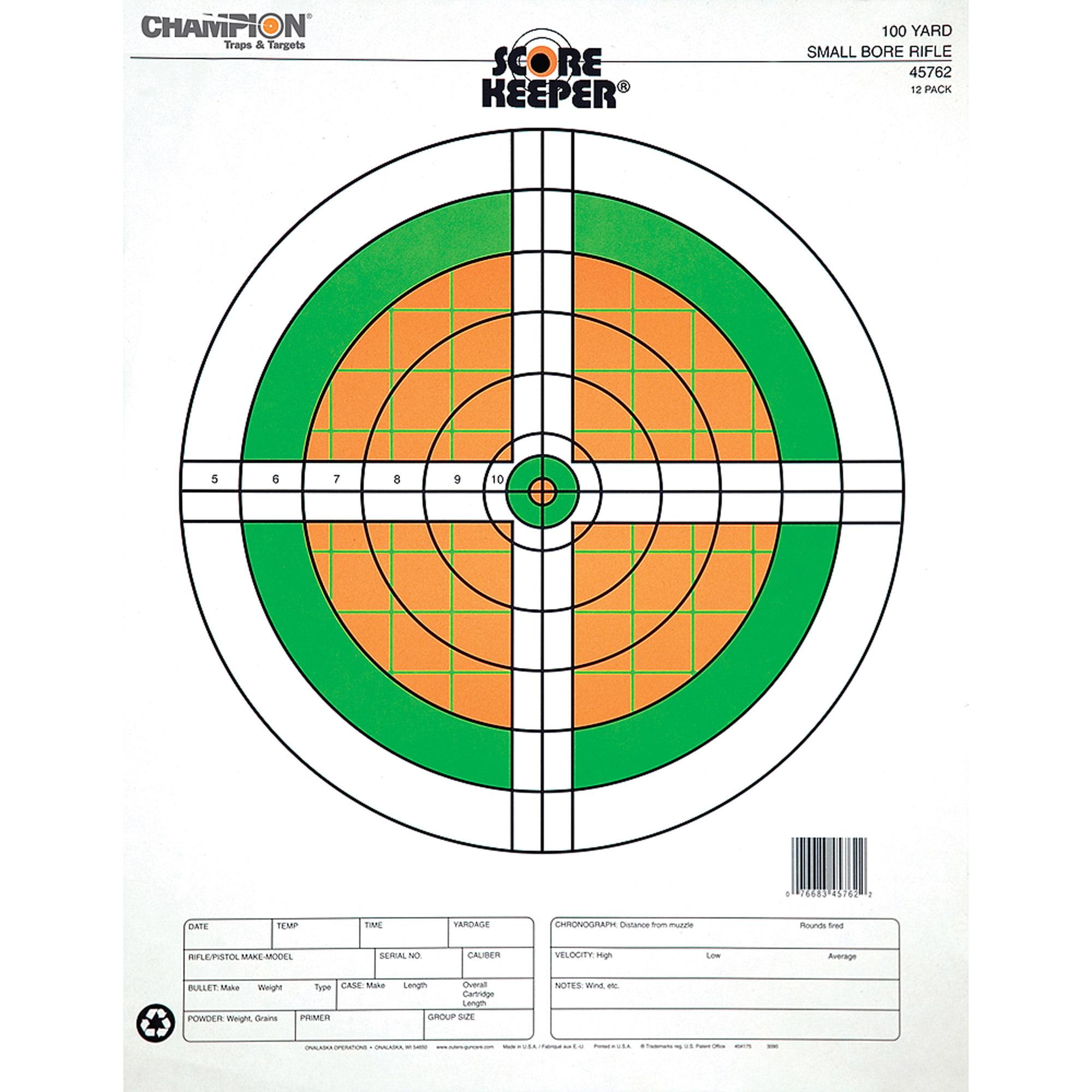 Champion Traps and Targets Fluorescent Orange/Green Bullseye Scorekeeper Target, 100 Yard Small Bore Rifle, 12pk
