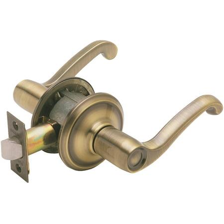 (Schlage F10VFLA609 Antique Brass Flair Lever Passage Set)