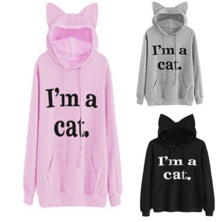 Women Long Sleeve Cute Cat Pattern Print Cat Ear Hoodie Pullover Sweatshirt - Hoodie With Ears