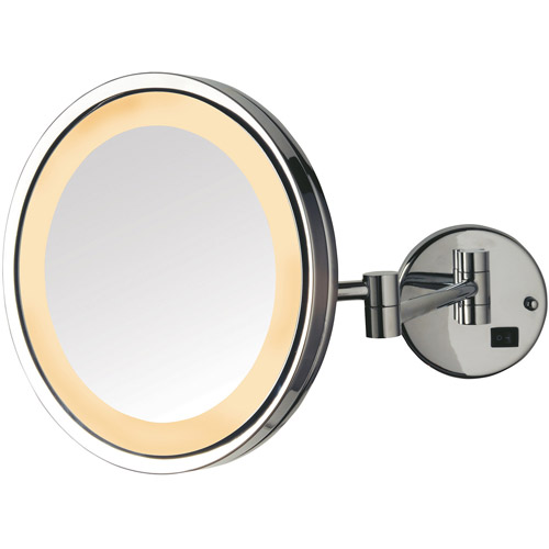 "Jerdon 9.5"" LED Halo-Lighted Wall Mount Mirror with 5x Magnification, 16"" Extension, Chrome"