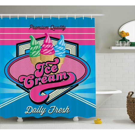 Vintage Shower Curtain, Vector Background with Ice Cream Illustration Decorations for Home Print, Fabric Bathroom Set with Hooks, 69W X 70L Inches, Blue and Hot Pink, by Ambesonne - Ice Cream Decorations