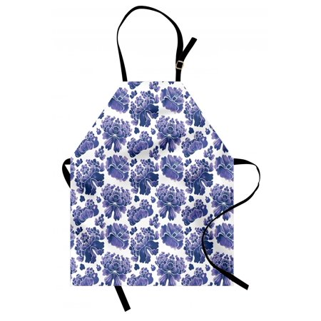 Floral Apron Watercolor Painting Style Chinese Flower Ornaments on White Backdrop, Unisex Kitchen Bib Apron with Adjustable Neck for Cooking Baking Gardening, Violet Blue Lavender White, by
