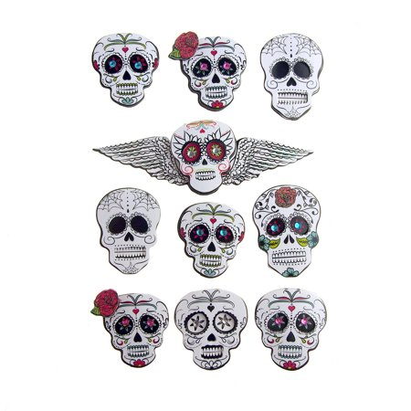 Sugar Skull 3D Handmade Stickers, 10-Count for $<!---->