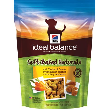 (3 pack) Hill's Ideal Balance Soft-Baked Naturals with Chicken & Carrots Dog Treats, 8 oz bag (Chicken Bag)