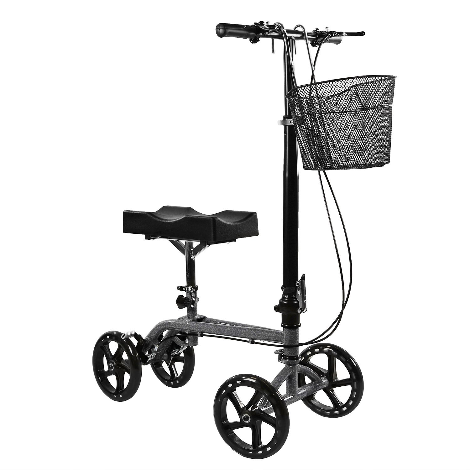 Clevr Foldable Medical Steerable Knee Walker Scooter Roller Crutch Alternative Silver