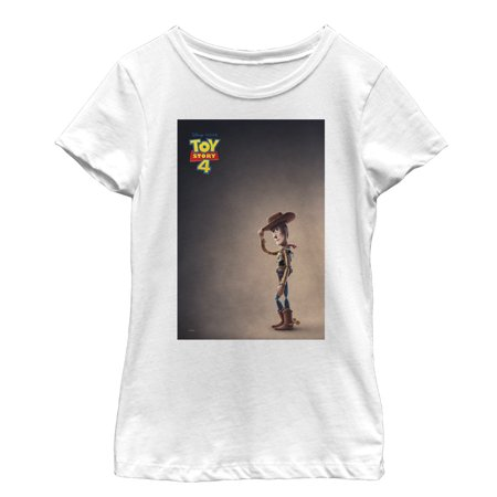 Toy Story Girls' 4 Woody Movie Poster T-Shirt (Toy Story Girl Characters)
