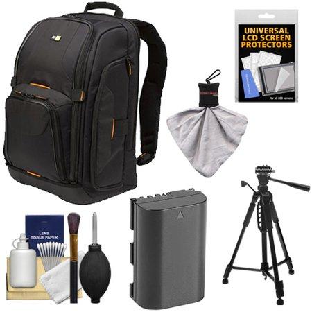 Case Logic Digital SLR Camera Backpack Case (Black) (SLRC-206) + LP-E6 Battery + Tripod + Accessory Kit for Canon EOS 5D Mark II III, 60D, 60Da & 7D