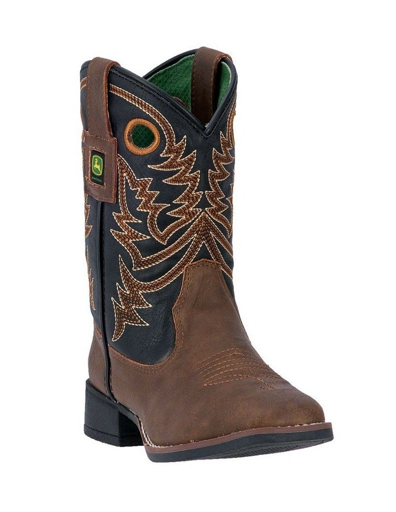 John Deere Western Boot Boys Kids Broad Toe Steel Shank Brown JD2025 by John Deere