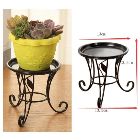 Iron Metal Mini Small Flower Plants Pot Stand for Indoor Outdoor Balcony Desk (Black)(5.12in*5.32in) (Mini Paper Flower Pots)