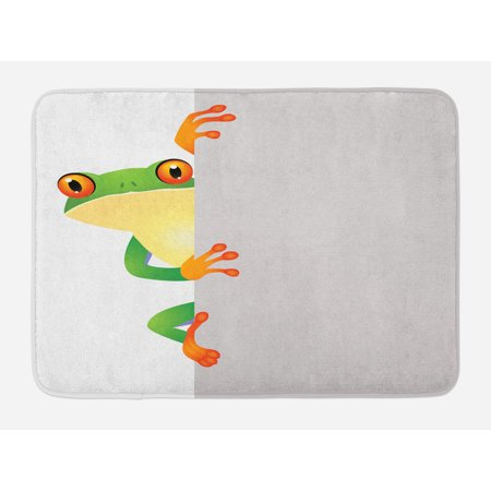 Reptile Bath Mat, Funky Frog Prince with Big Eyes on Wall Camouflage Nursery Reptiles Theme, Non-Slip Plush Mat Bathroom Kitchen Laundry Room Decor, 29.5 X 17.5 Inches, Green Yellow Orange, Ambesonne