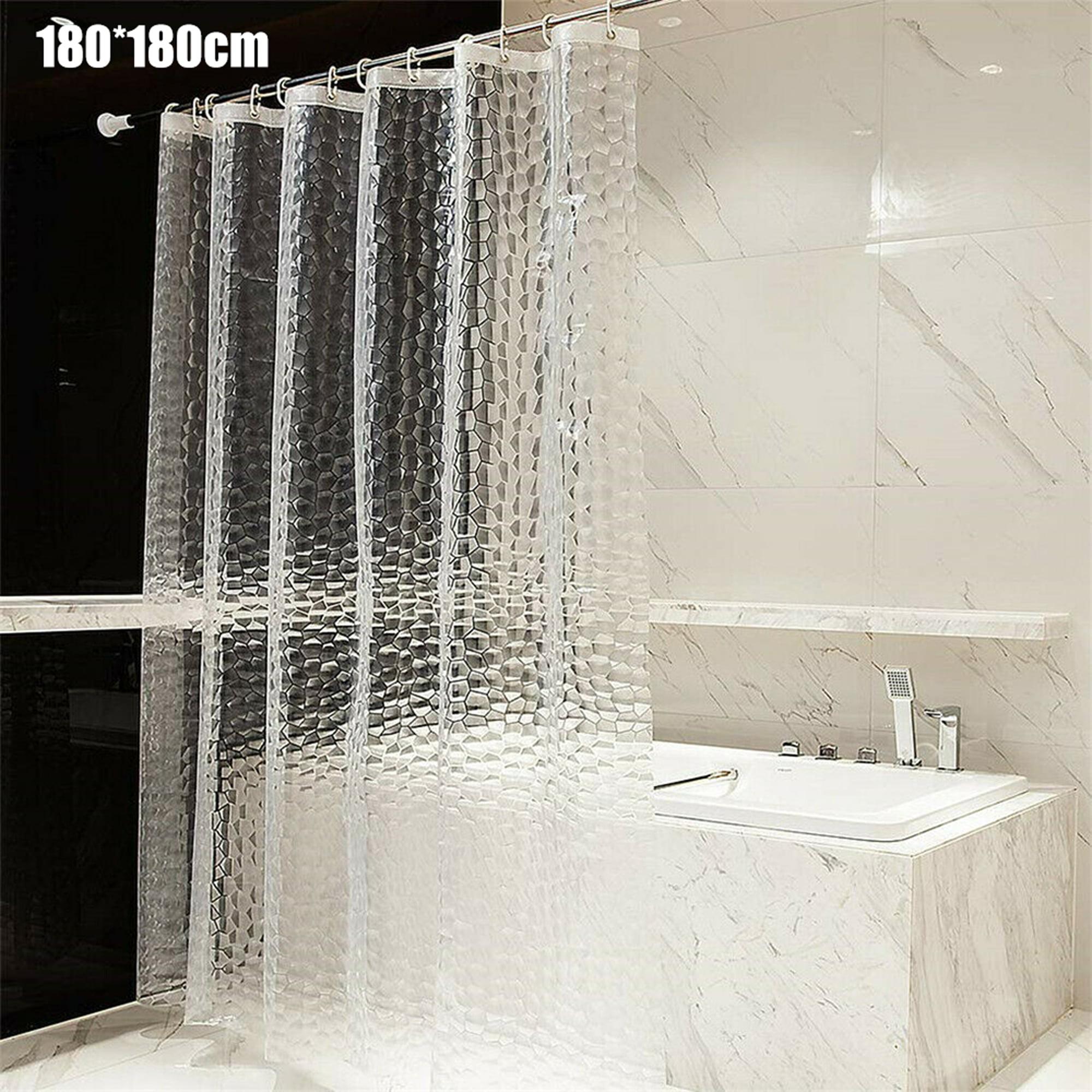 Transparent 3D Water Cube Design Shower Curtain Bathroom Waterproof Fabric
