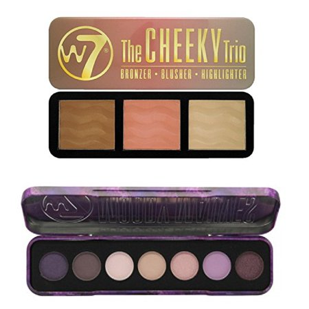 W7 Holiday Kit: Moody Mauves Purple Passion Shades, 7 Eye Shadow Colour Palette + The Cheeky Trio, Bronzer, Blusher, Highlighter Tin + 3 Count Eyebrow Trimmer ()