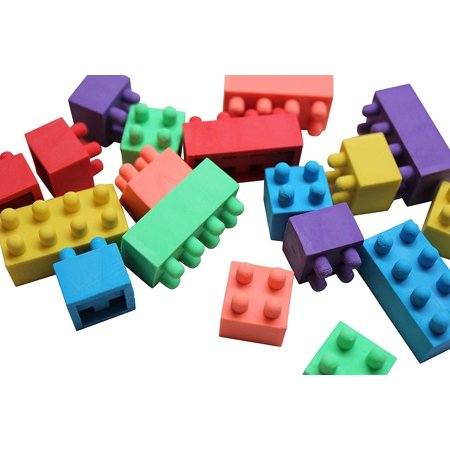 12 Dozen Packs of Functional Building Brick Block Erasers - They Stack! - Cute Fidget Novelty Prize Favor Goody Bag Supplies Teacher