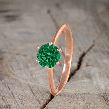 JeenMata - Beautiful 1 Carat Round cut Emerald Solitaire Engagement Ring  for Women in Rose Gold - Walmart.com 5e9265cd9d