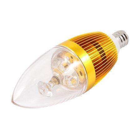 Unique Bargains 3W Power E12 Screw Base 35mm Dia 3-LEDs Candle Light Bulb Lamp Holder Shell