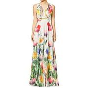 Lady Sleeveless Crossover V Neck Floral Print Maxi Dress White XL