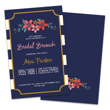 Personalized Navy and White Striped Floral Bridal Luncheon Invitations](Bridal Brunch Invitations)