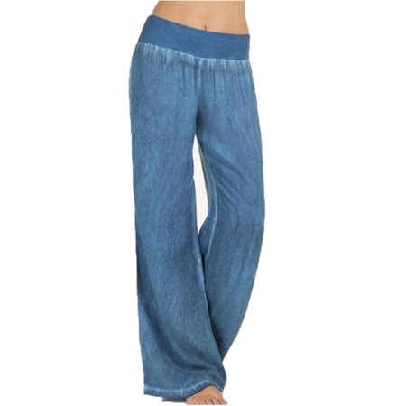 Black Straight Leg Trousers - Plus Size Womens Yoga Palazzo Trousers Summer High Waist Wide Leg Loose Pants