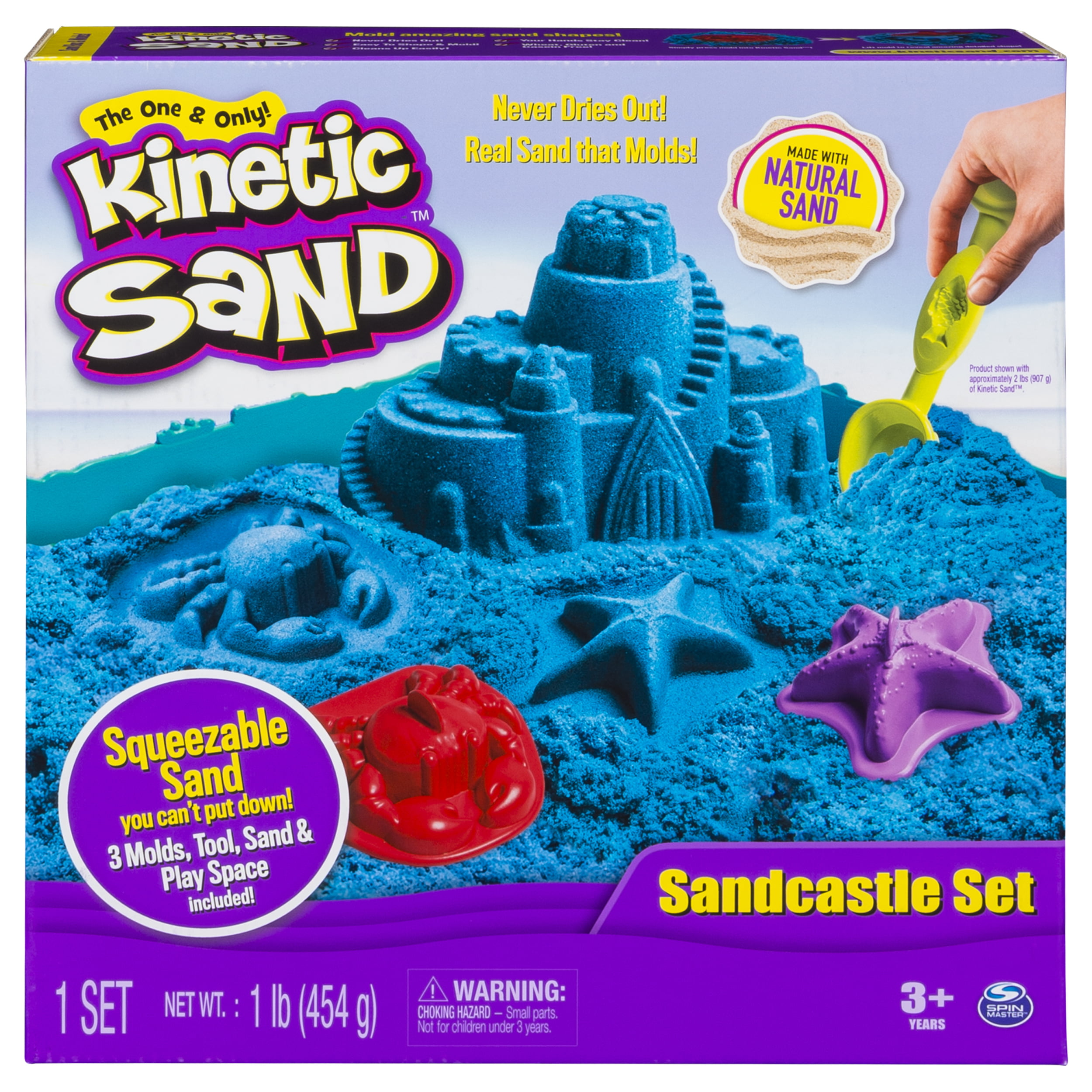 Cra-Z-Sand Mold n Play Deluxe Playset 9 Molds 4 Tools 1 Bonus Pack Sand 8 oz