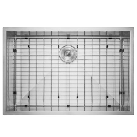 "Image of AKDY 33"" x 22"" x 9"" Handmade Under Mount Single Basin Stainless Steel Kitchen Sink Dish Grid w/ Drain Kit"
