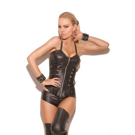 Elegant Moments Leather Zip Front Corset with Underwire Cups, Boning, Lace Up Front & Adjustable Straps