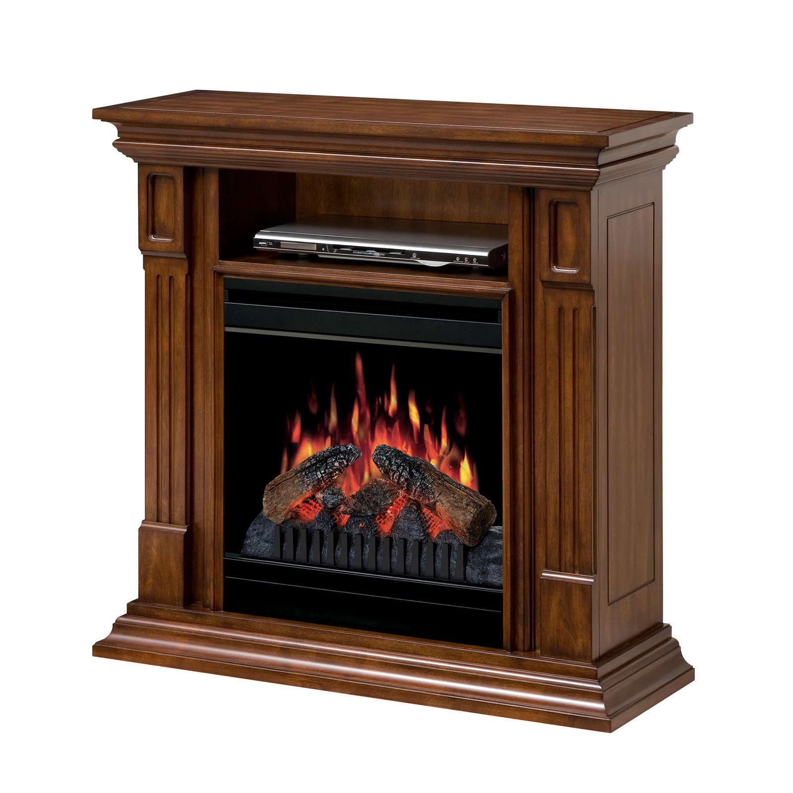 "Dimplex Deerhurst Media Console Electric Fireplace With Logs for TVs up to 36"", Burnished Walnut"