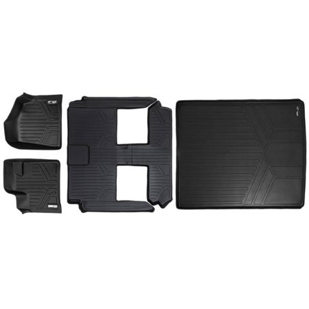Maxliner 2008 2017 Dodge Grand Caravan Chrysler Town   Country Floor Mats 3 Row Set Maxtray Cargo Liner Behind 2Nd Row Black A0046 B0046 D0181