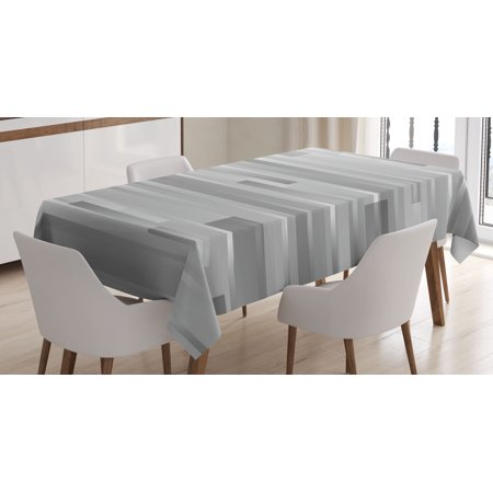 Modern Decor Tablecloth, Futuristic Striped Web Forms Artistic Contemporary Graphic Fusion Artwork, Rectangular Table Cover for Dining Room Kitchen, 60 X 84 Inches, Silver Grey, by Ambesonne - Grey Paper Tablecloth