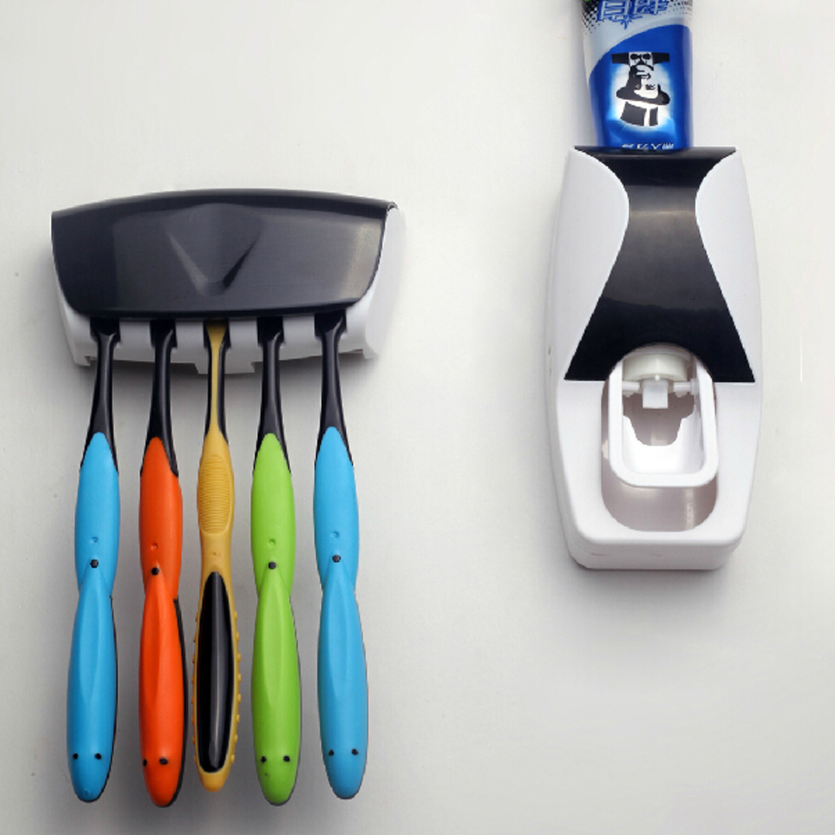 Automatic Toothpaste Dispenser with Wall Mount Toothbrush Holder Toothpaste Squeezer with 5 Brushes Set Kids Hands Free Toothpaste Dispenser for Shower Bathroom Sink