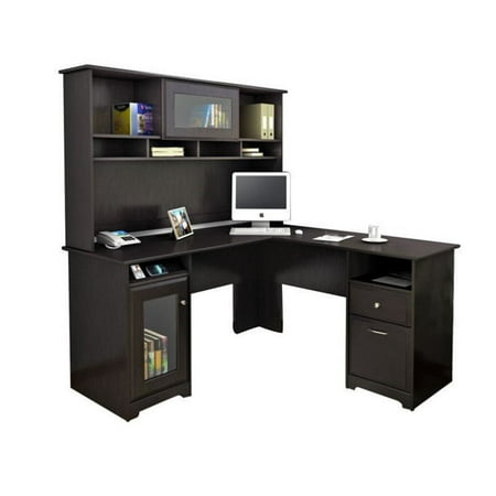 Bush Cabot L Shaped Computer Desk with Hutch in Espresso Oak Corner Computer Desk With Hutch