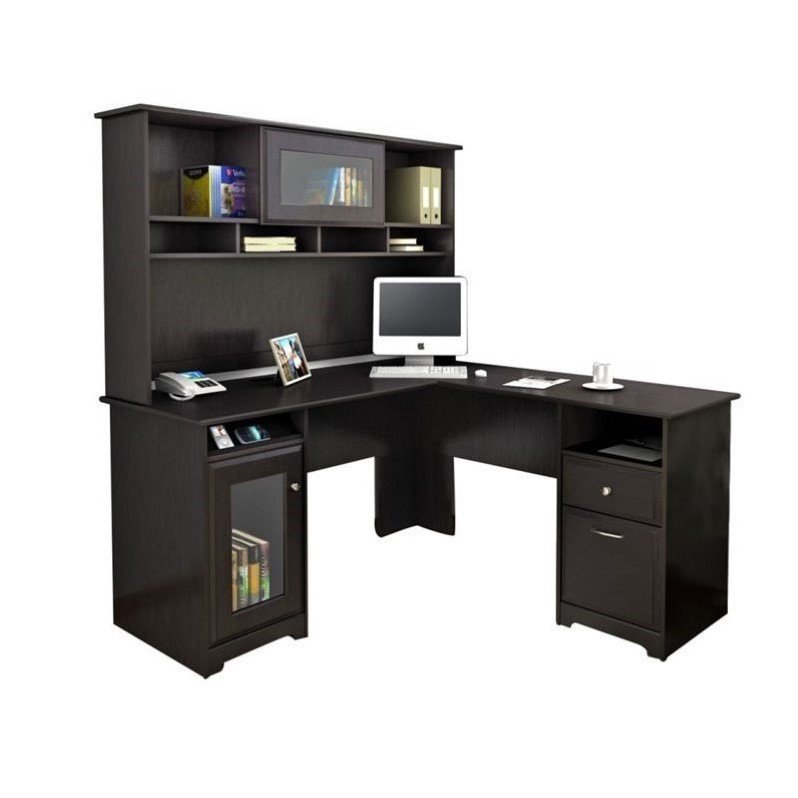 High Quality Bush Cabot L Shaped Computer Desk With Hutch In Espresso Oak
