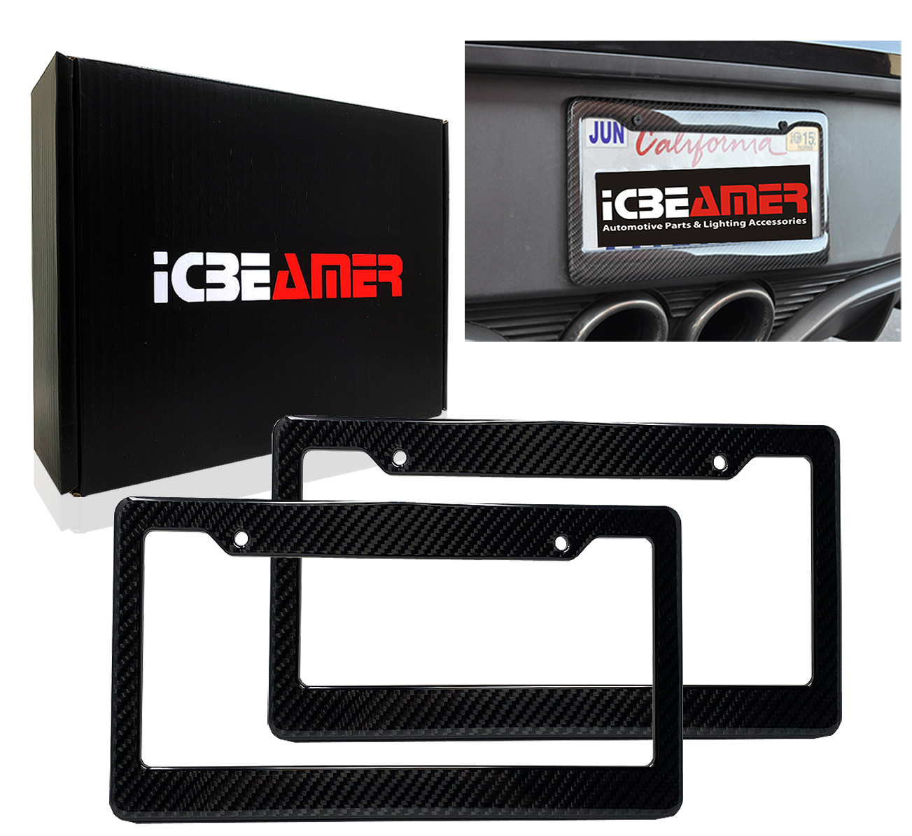 Pack of 1 pc ICBEAMER Black Carbon Fiber License Plate Frame Tag Snap for All Vehicle Truck SUV Mini Van Front Rear