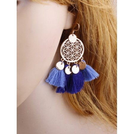 EFINNY Fashion Women Girls Leaf Tassel Earrings (Silver Oak Leaf Earrings)