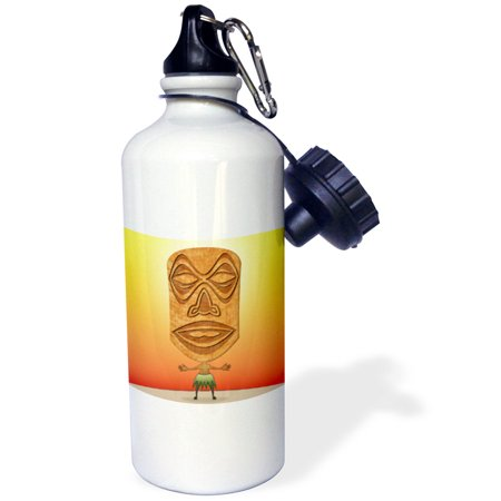 3dRose VooDoo Tiki Head voodoo villager with tribal mask standing in tropical environment, Sports Water Bottle, 21oz