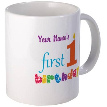 Cafepress Personalized Orange Candle With Colorful Text 1st First Birthday Mug
