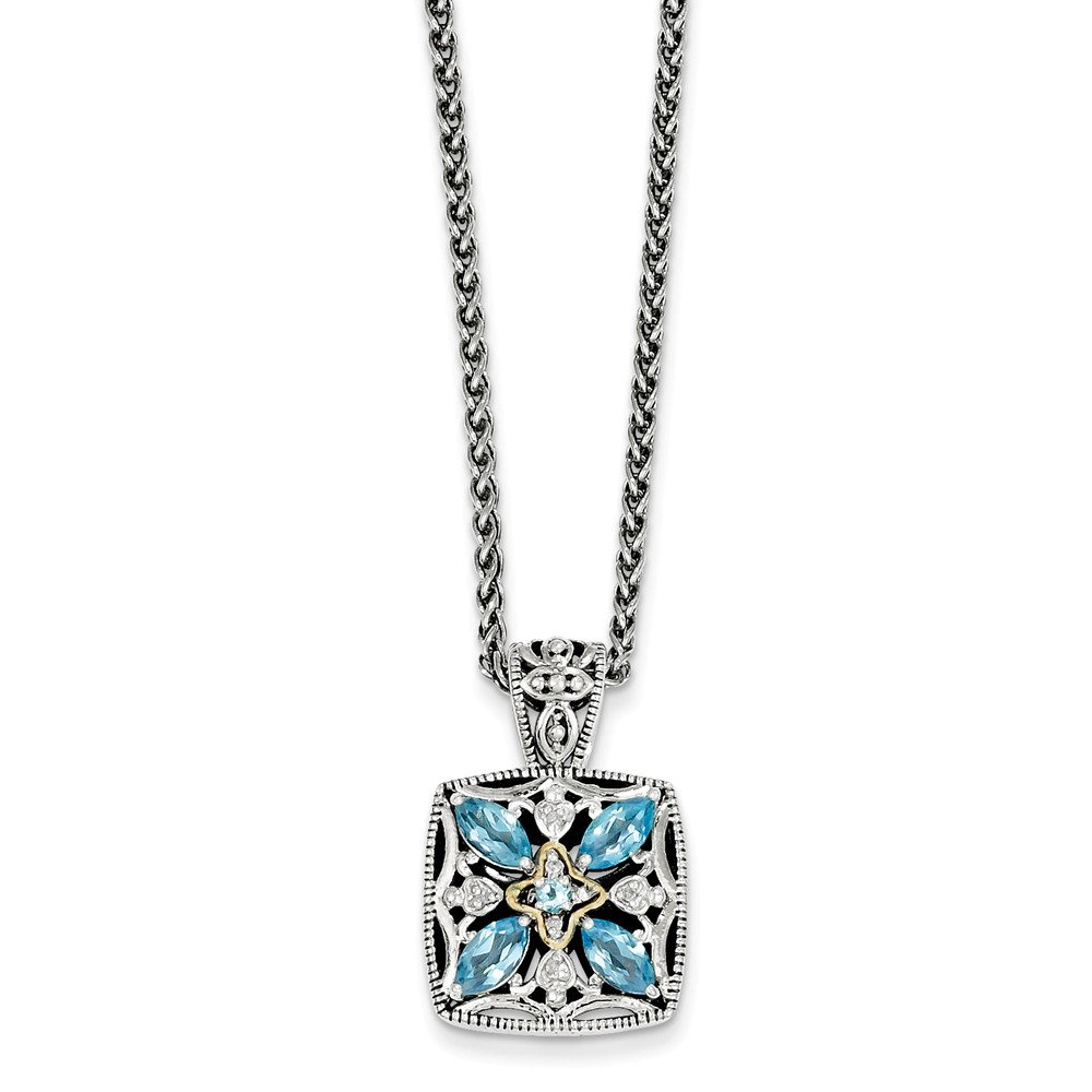 Sterling Silver With 14k Diamond and Blue Topaz Necklace .04 dwt by Jewelryweb