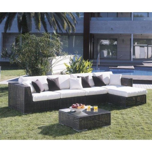 Hospitality Rattan Soho Wicker Sectional Deep Seating Group with Ottoman