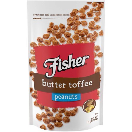 Fisher Snack Butter Toffee Peanuts, Gluten Free, Resealable Bag, 11 oz