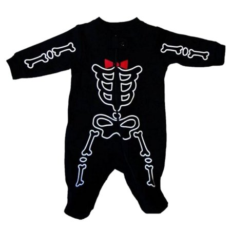 Infant Boys Halloween Sleeper Black Bow Tie Skeleton Sleep & Play