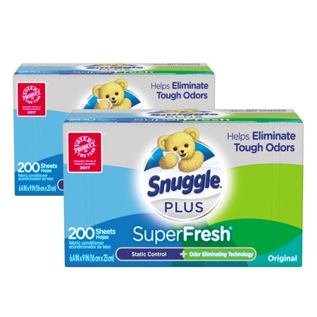 Snuggle Plus SuperFresh Fabric Softener Dryer Sheets with Static Control and Odor Eliminating Technology, Original, 400