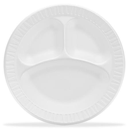 Dart Compartment Foam Plates, 10.25u0022, 500 count