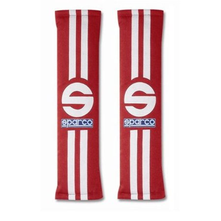 """Sparco 0109077RS """"77 Line"""" Red / White Seat Belt Harness Pad 1 Pair Authentic"""