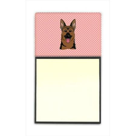 Carolines Treasures BB1211SN Checkerboard Pink German Shepherd Refiillable Sticky Note Holder Or Postit Note Dispenser, 3 x 3 In.