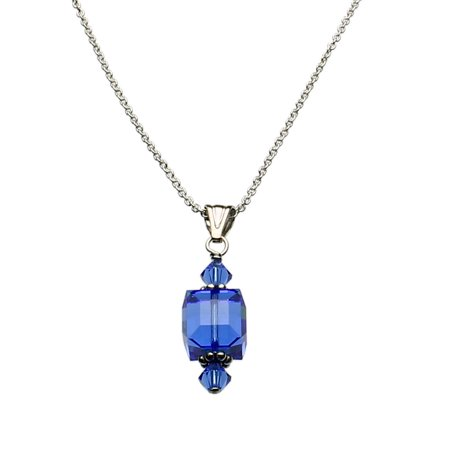 Blue Sterling Silver Cable Chain Necklace Cube Pendant Made With Swarovski Crystals 18