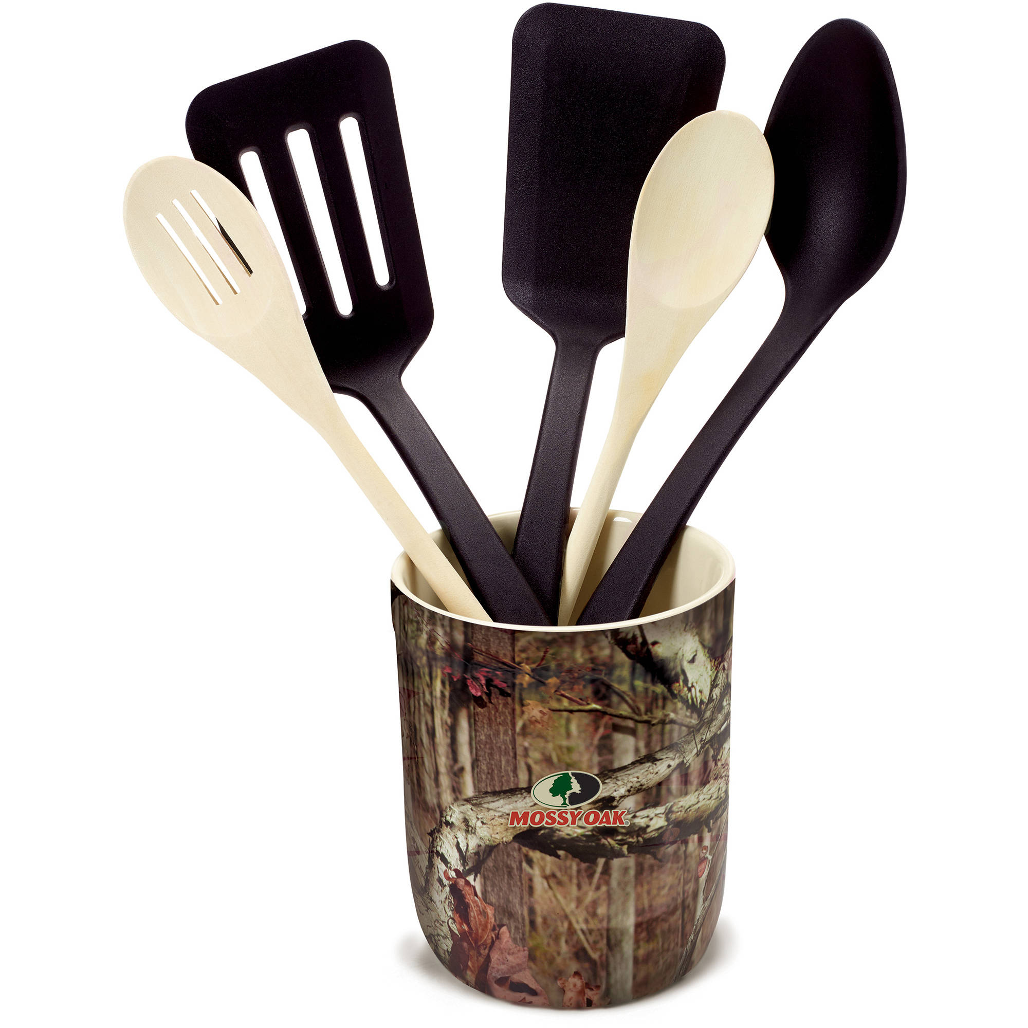 Mossy Oak 6-Piece Kitchen Tool and Gadget Crock Set