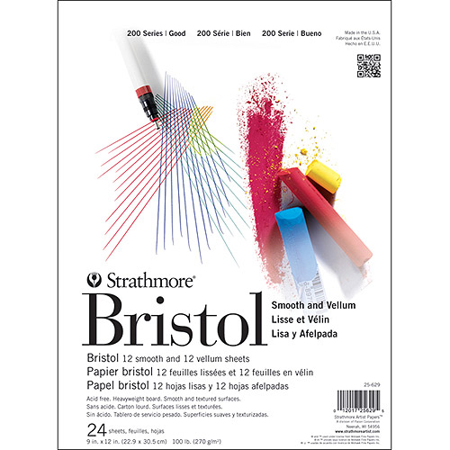 Strathmore 9-Inch by 12-Inch Student Bristol Pad, 24-Sheet Multi-Colored