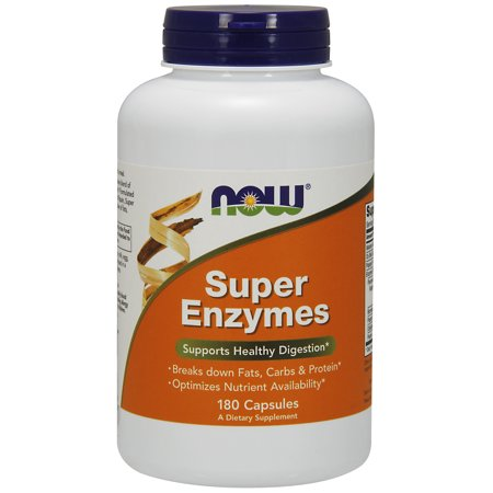 NOW Supplements, Super Enzymes, Formulated with Bromelain, Ox Bile, Pancreatin and Papain, Super Enzymes,180 Capsules (Super Enzyme 50 Capsules)