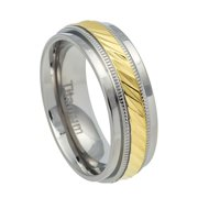7.5mm Titanium Step Edge with Yellow IP Center and Milgrain Grooves Wedding Band Ring For Men Or Ladies