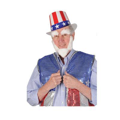 Club Pack of 12 White Uncle Sam Patriotic Costume Accessories 10.25